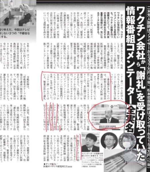 二木芳人医師がワクチン会社から謝礼!いくらもらってた!?